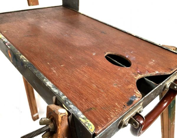 Antique Wooden Cheney Artists Easel / Paint Box / Stand / Fold Up Travel Design